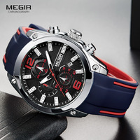 Megir Men S Chronograph Analog Quartz Watch With Date Luminous Hands Waterproof Silicone Rubber Strap Wristswatch