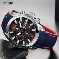 Megir Men S Chronograph Analog Quartz Watch With Date Luminous Hands Waterproof Silicone Rubber Strap Wristswatch