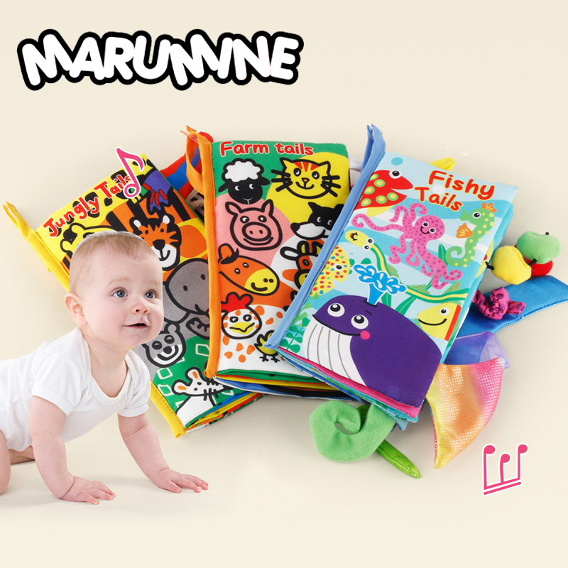 Marumine Animal 3D Cloth Quiet Book Baby Soft Book Jungle Farm Sea Animal Soft Cloth Learning Cognize Books For 0-12 Months Kid