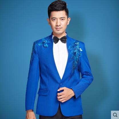 Blue singer blazer men formal dress latest coat pant designs Sequins suit men terno masculino trouser wedding suits for mens