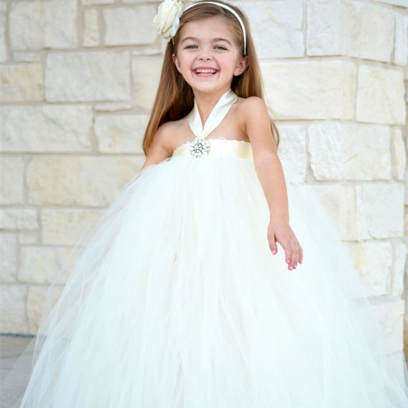 Black,Ivory,Navy Flower Girl Dresses For Wedding Gowns Children Tulle Tutu Dress Baby Kids Girls Pageant Birthday Party Dress ball gowns for children pageant teenage girls clothes top grade kids wedding dresses ivory beading diamond wedding dress