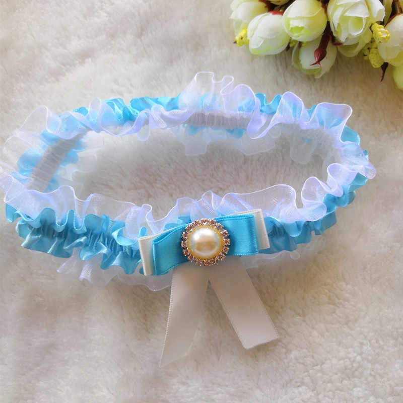 1pcs Sexy Wedding Bow Garter Set Something Blue Pearl Bridal Garter Belt Bride Accessories