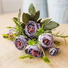Zinmol flor Artificial Rosa Flor de seda vivo estilo europeo elegante estilo Vintage flor 9 cabezas decoración del hogar Mesa Deco