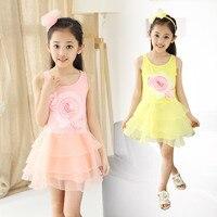 Children's Wear Summer New Girls Flower Veil New Korean Princess Dress Kids Clothing Pink Yellow Flower