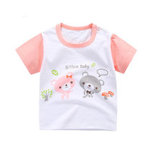 Boys T-shirt Kids Tees Baby Boy brand tshirts Children blouses Short Sleeve 100% Cotton Bears Pink free cute baby girls tops(China)