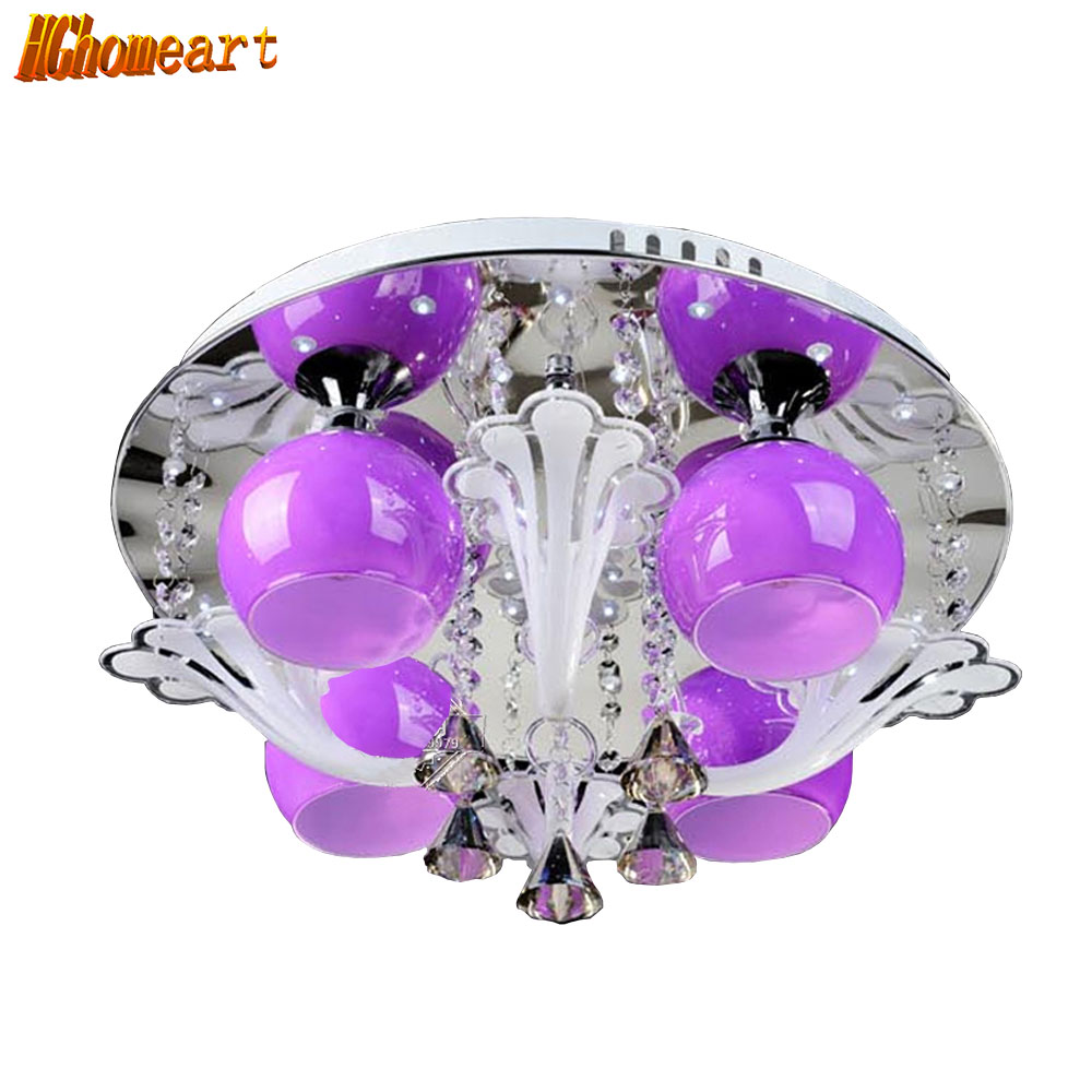 HGHomeart Modern LED Ceiling Lamps Round Crystal Lustre Luminaire Livingroom Colorful Night Ceiling Fixture Light 110V/240V hghomeart modern led ceiling lamps round crystal lustre luminaire livingroom colorful night ceiling fixture light 110v 240v