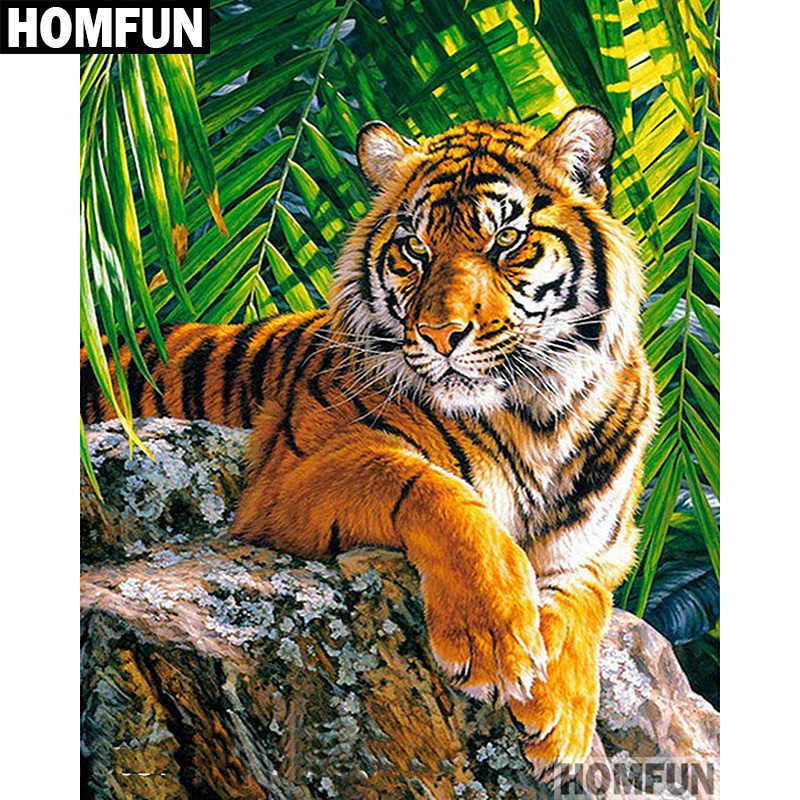 Homfun Diamond Lukisan Tiara Gambar Berlian Bordir Hewan Tiger Cross Stitch Berlian Dekorasi Rumah A00550