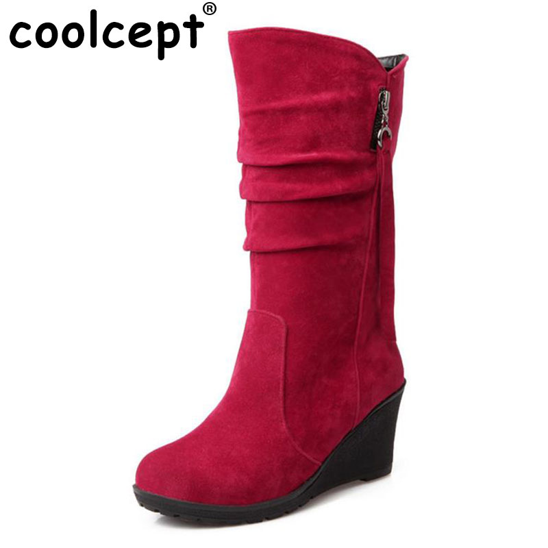 Coolcept Size 30-49 Women Wedge Half Short sexy Boots Rainbow Color Winter Snow Boot Footwear Warm Botas Feminina Shoes coolcept size 35 40 ross strap flat mid calf boots women thickened fur winter warm snow half short boot footwear shoes p21267