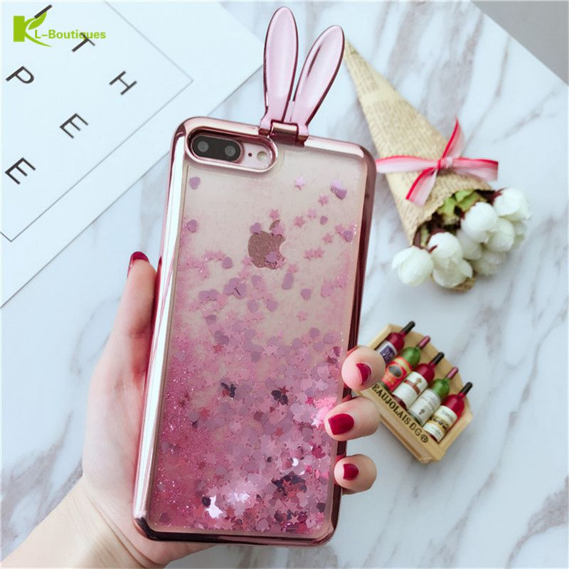 KL-BOUTIQUES for Coque iPhone 7 Case Rabbit Dynamic Glitter Liquid Stand Phone Cases for iPhone 8 X 6s 6 Plus Soft Cartoon Cover