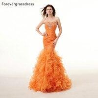 Forevergracedress Hình Ảnh Thực Tế Gorgeous Orange Prom Dress New Chất Lượng Cao Mermaid Crystals Dài Formal Đảng Gown Cộng Với Kích Thước