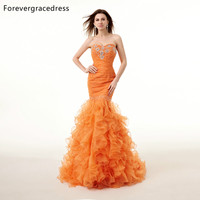 Forevergracedress Real Pictures Gorgeous Orange Prom Dress New High Quality Mermaid Crystals Long Formal Party Gown Plus Size