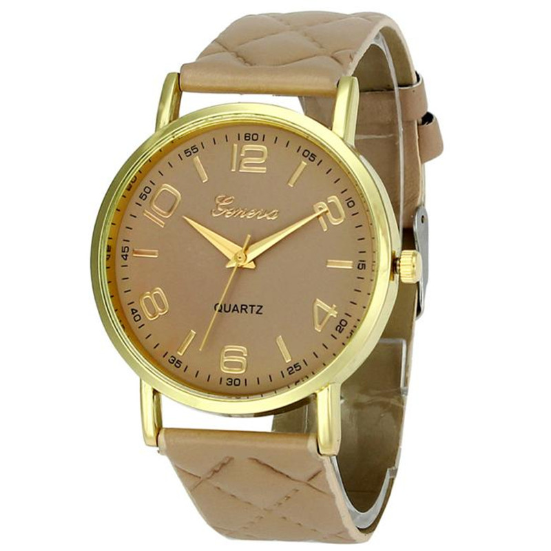 New women bracelet watch geneva famous brand ladies faux leather analog quartz wrist watch clock for Watches geneva