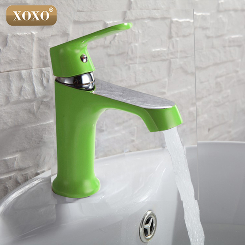 XOXO Innovative Fashion Style Home Multi color Bath Basin Faucet Cold and Hot Water Taps Green