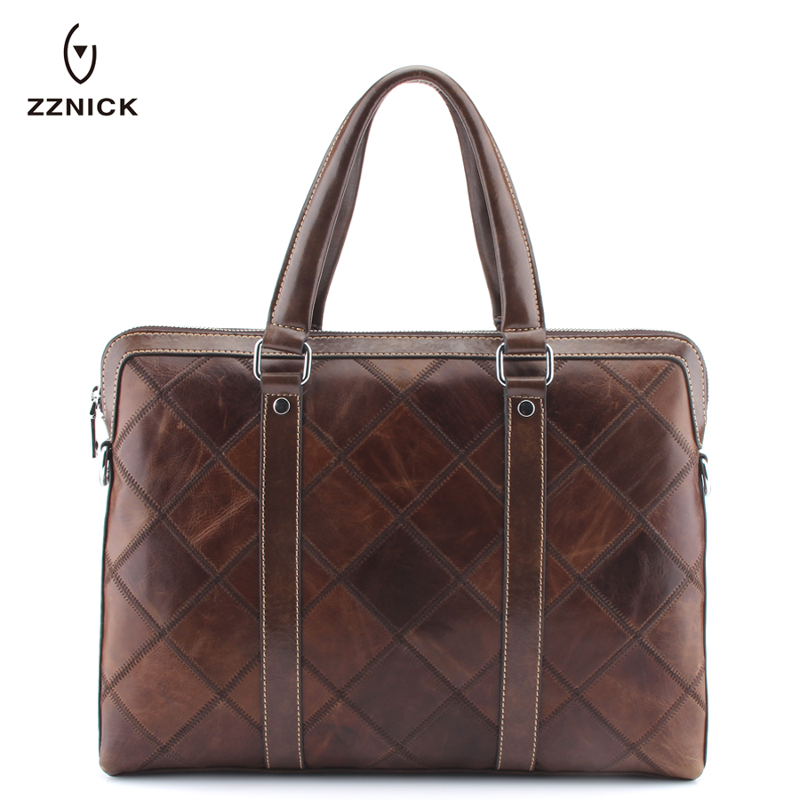 ZZNICK 2018 Fashion Brand Genuine Real Cow Leather Messenger Bags Business Men Briefcases Leather Laptop Handbag Shoulder bag