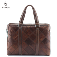 ZZNICK 2018 Fashion Brand Genuine Real Cow Leather Messenger Bags Business Men Briefcases Leather Laptop Handbag