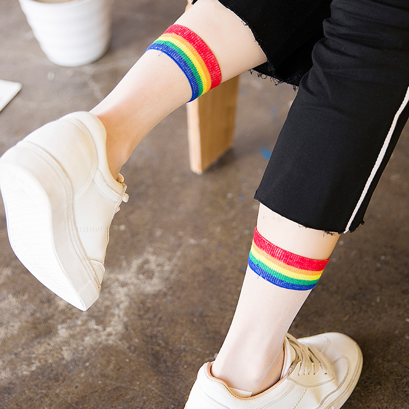 Rainbow Colour Crystal Glass Fiber Silk Stockings Woman Japanese Stripe Sweet Ultrathin Transparent Summer Socks Women 3 Pairs