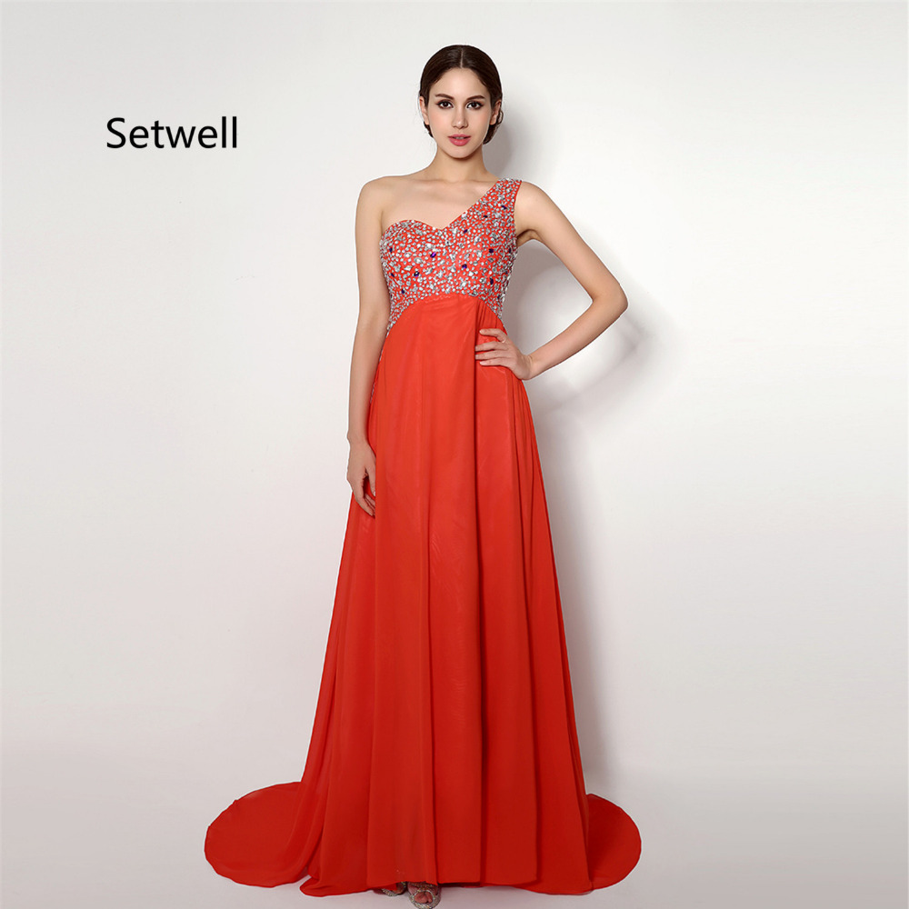 Setwell Shining Crystal Beading One Shoulder   Prom     Dresses   2017 Sweep Train A-Line Chiffon   Prom     Dress   High Quality Evening Gown