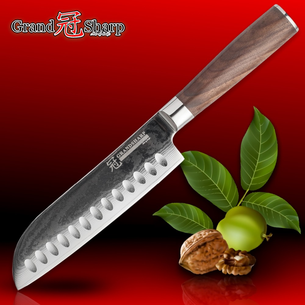 GRANDSHARP Damascus Steel Knife 67 Layers Japanese Damascus Steel Japanese Damascus Kitchen Knife Santoku Sushi Sashimi