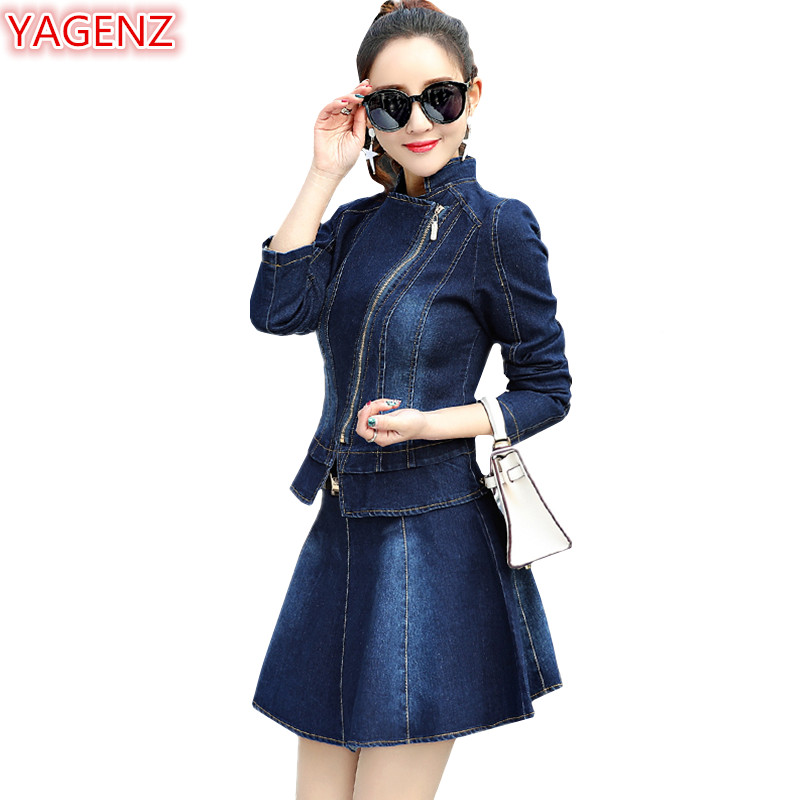 YAGENZ Fashion Spring Autumn Denim Clothing Women 2 Piece Sets Zipper Denim Top+Short skirts Ladies Clothes Denim Skirt Set 891