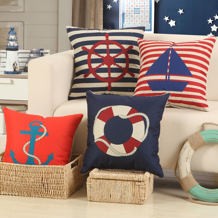 RUBHOMEI Wholesale(4pieces/lot)Boat Design Red Cushion Covers Polyester Home Decor Sofa Car Seat Decorative Throw Pillow Cases