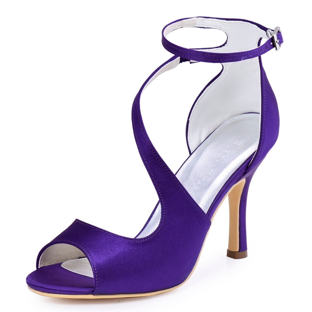 HP1565 Purple Women Bride Bridesmaids Pumps Peep Toe High Stiletto Heel 3''Buckles Satin Wedding Bridal Party Prom Shoes hp1544i white ivory peep toe women wedding pumps ankle strap crystal buckle bride bridesmaids high heel satin bridal prom shoes