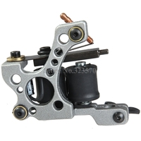 New Aluminum Alloy 10 Wrap Coils Cast Iron Silver Tattoo Machine Gun For Liner Shader Supply
