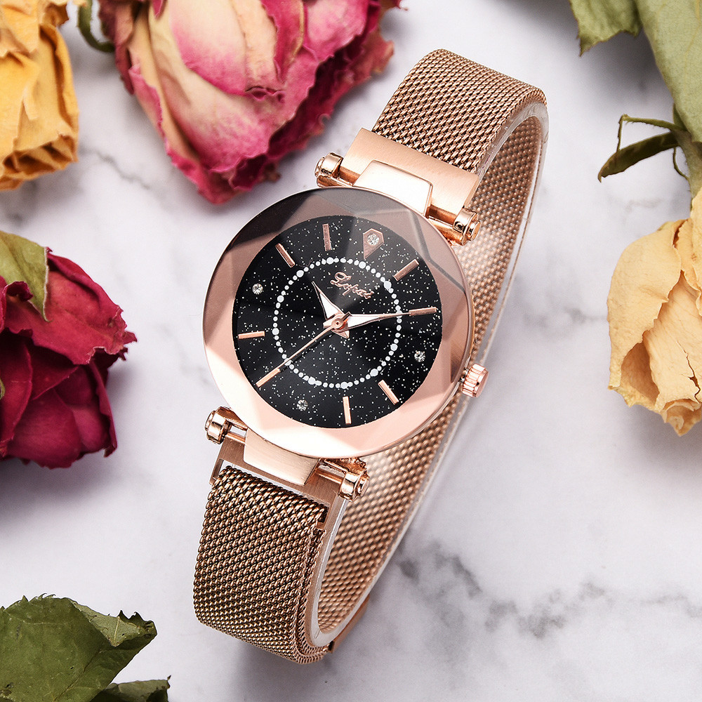 relogio masculino NEW 2019 Women clock Hot Sale Fashion Starry Sky Stainless Steel Mesh Be