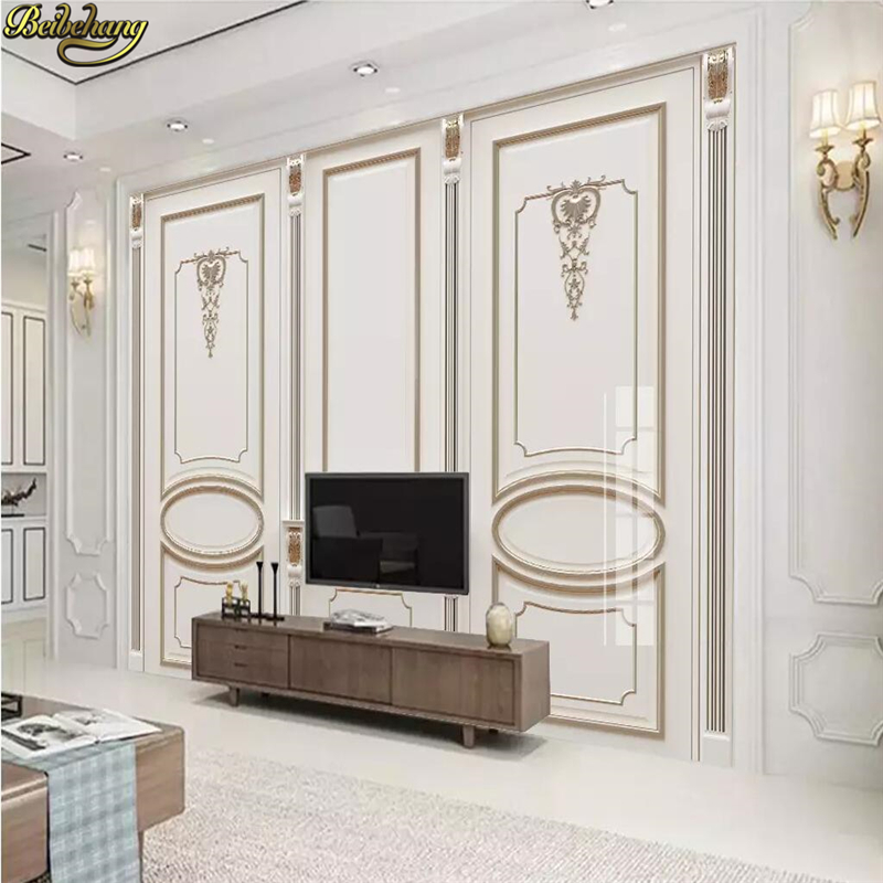 Beibehang Custom European White Plaster Carving Wall Panel Wallpaper For Walls 3 D Photo Mural Wall Paper Murals TV Background