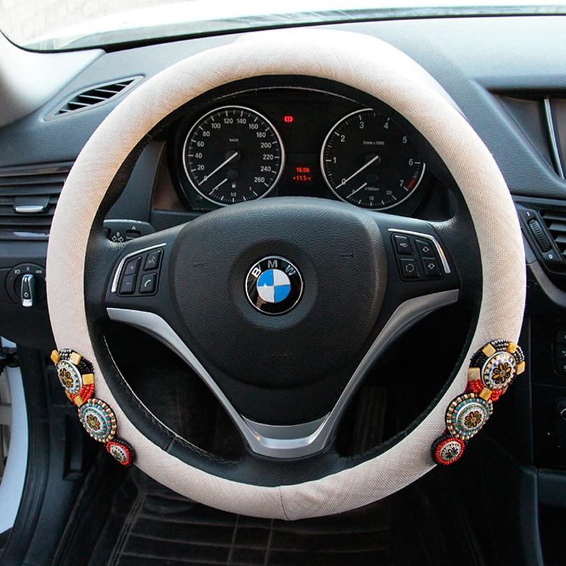 MUNIUREN винтажные бисерные Чехлы рулевого колеса автомобиля 15 дюймов 38 см Ретро кристаллы рулевого колеса чехол для женщин