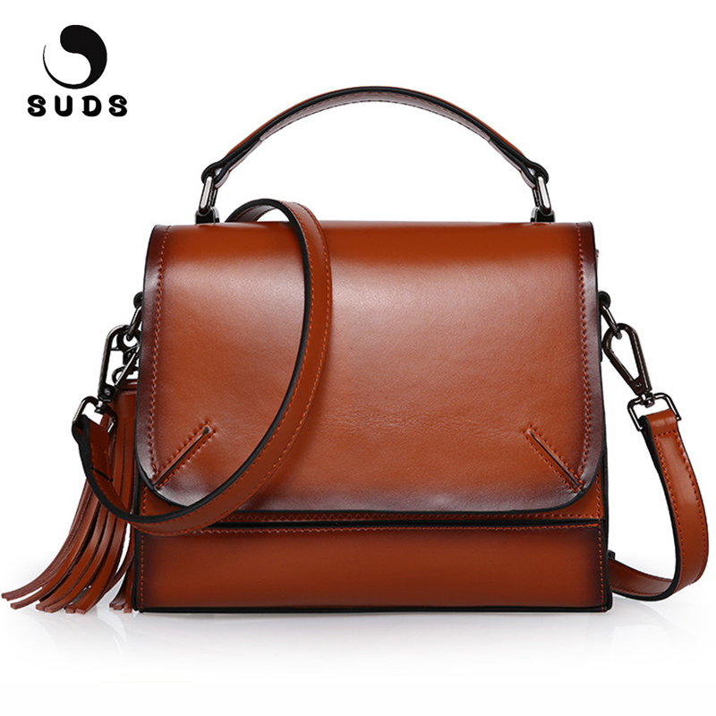 SUDS Brand Real Cow Leather Women Messenger Bags Female Large Capacity Tassel Shoulder Bags Women Genuine Leather Crossbody Bags