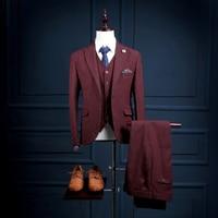Na14 новости последние Дизайн индивидуальный заказ бордовый Slim Fit Для мужчин пальто штаны мужской костюм комплект из 3 предметов (пальто + Брюк