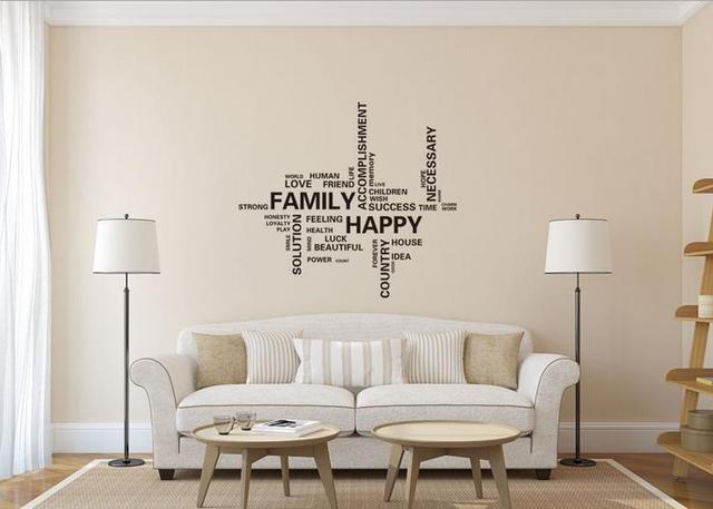 Family Happy Home Decor Creative Quote Wall Decal Removable Vinyl - Removable vinyl wall decals for home decor