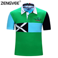 Fashion Short Sleeve Polo Shirt Men Camisas Masculinas Quality Brand Polo Summer Short Sleeve Patchwork Breathable Flag Style