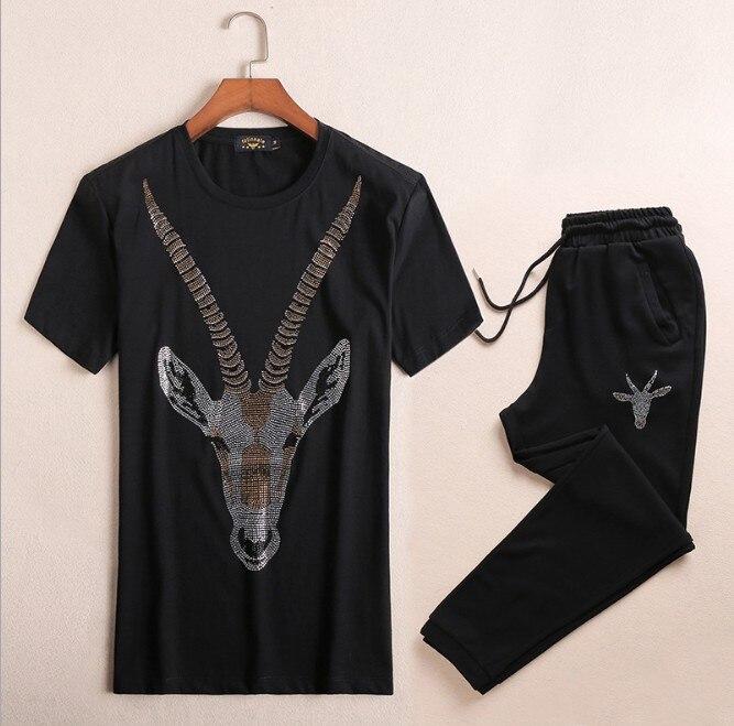 Brand New Novelty Hot diamond Tiger goat Men Running Sportswear Tracksuits Men's Sets (tee shirt + pants) Top TEES #L113 - 4