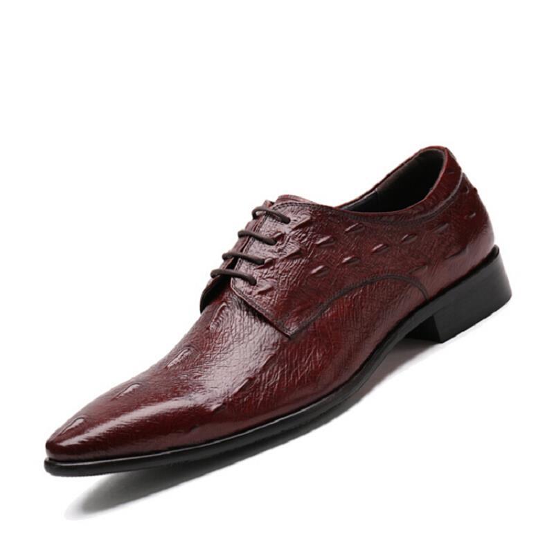 Negocios Aumentar brown Cocodrilo Schuhe Herren Heinrich Vestido Zapatos De Moda Hombres Derby Lace Cuero Altura Up Negro Black BTBA8xn