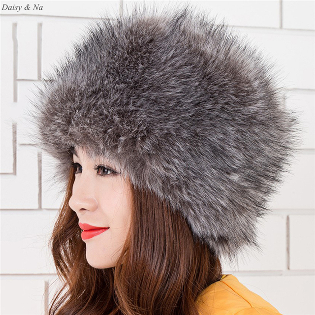 Daisy & Na Winter Fashion Style Ladies Faux Fox Fur Russian Cossack Style Winter Hat Warm Cap 049