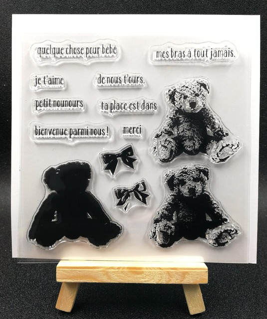 Teddy bear de Silicone Transparente Claro Carimbo/Selo para scrapbooking DIY/álbum de fotos Decorativo claro folhas de selos H071