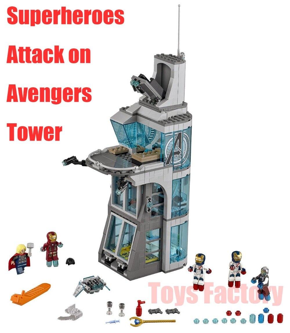 ФОТО 511Pcs Super Hero Attack on Avenger Tower Marvel Iron Man Thor Set Building Blocks SY370 Bricks Set Compatible 7114