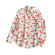 NiceMix Korean New Love Pattern Long Loose Sleeve Lazy Shirt Women Spring 2019 Summer Blusas Mujer De Moda Blouse Red Heart Shap