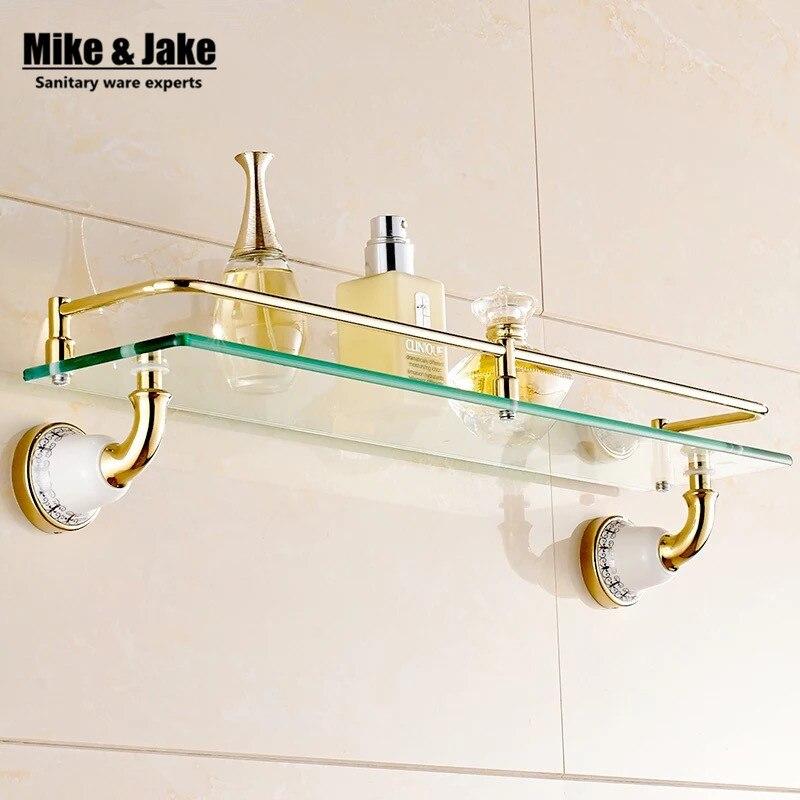 accessori per il bagno in ottone massiccio dorato ripiano in vetro vetro temperato singola mensola