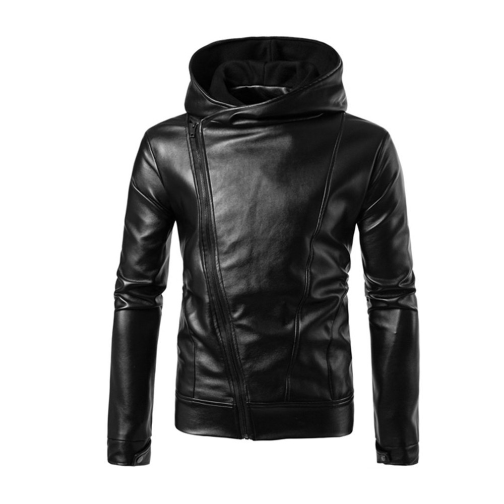2017 Punk Style Fashion Black Leather Jacket Hoodie Zipper Type Men Casual Slim Fit Moto ...