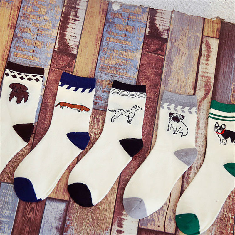 Korean Mens Dachshund Pug Dog Cotton Socks Male Funny Bulldog Dalmatian Poodle Puppy Pet Animal Long Sock Cheap