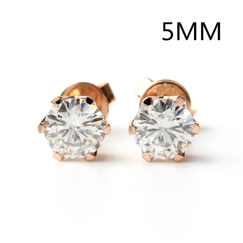 Transgems Screw Back Moissanite Gold Earrings 5MM 0.5CT F Color Moissanite Diamond and 14K White or Yellow Gold Stud Earrings 1 0ctw carat 5mm round black moissanite 14k white yellow gold push back stud earrings test positive moissanite diamond for women