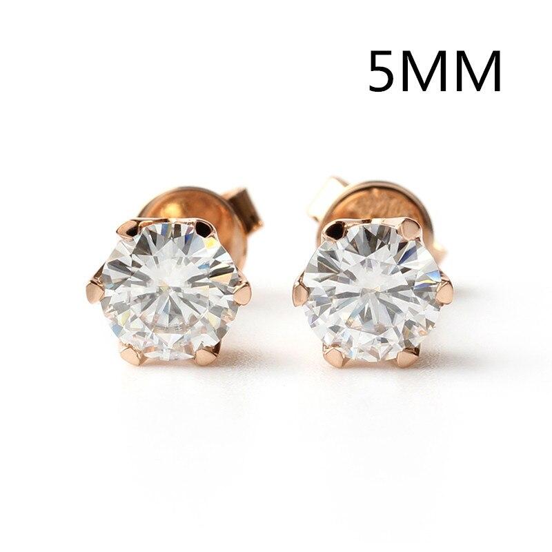Transgems Vis Retour Moissanite Or Boucles D'oreilles 5mm 0.5CT F Couleur Moissanite Diamant et 14 k Blanc ou Or Jaune boucles D'oreilles