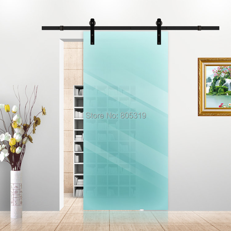 5ft 6ft black rustic sliding barn glass door sliding for Sliding glass doors hardware