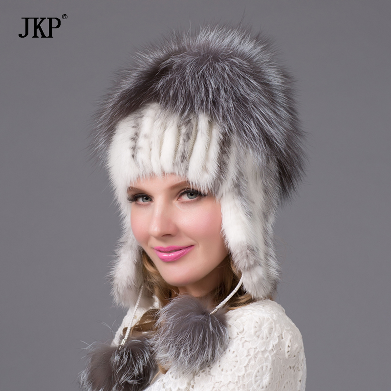 Russia Women hats winter genuine mink fur hat with Fox fur pom pom knitted   skullies     beanies   fur caps