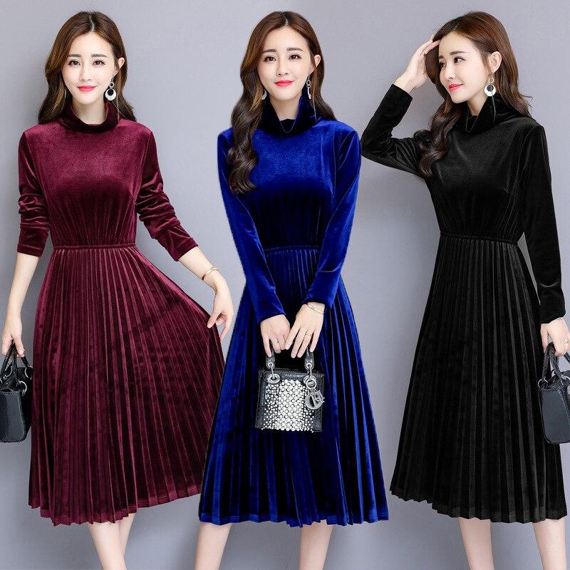 Automne et hiver robe femmes Pleuche nouveau or velours grande taille femmes col roulé à manches longues longue robe plissée