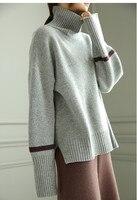 Коза кашемир толстой вязки Женская мода твердый высокий воротник свободные open hem пуловер свитер серый 2 вида цветов M XL Розничная и оптовая п