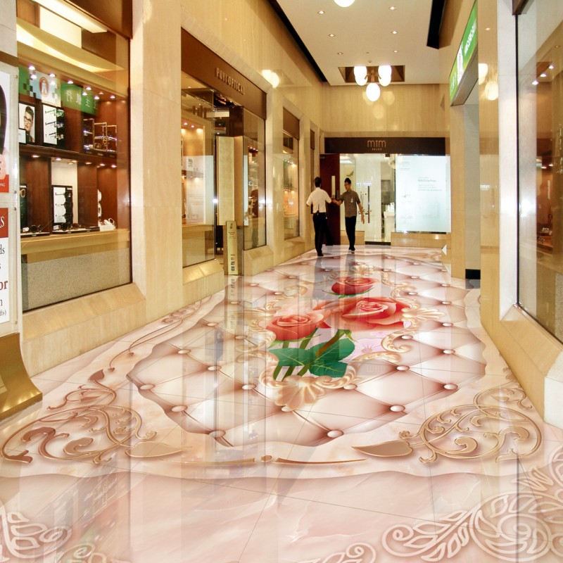 Free shipping photo floor European rose soft flooring 3D ground painting custom living room bathroom wallpaper flooring