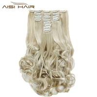 I S A Wig Synthetic 18 Clips In Hair Extension 8pcs Set 22inch Long Wavy Blonde